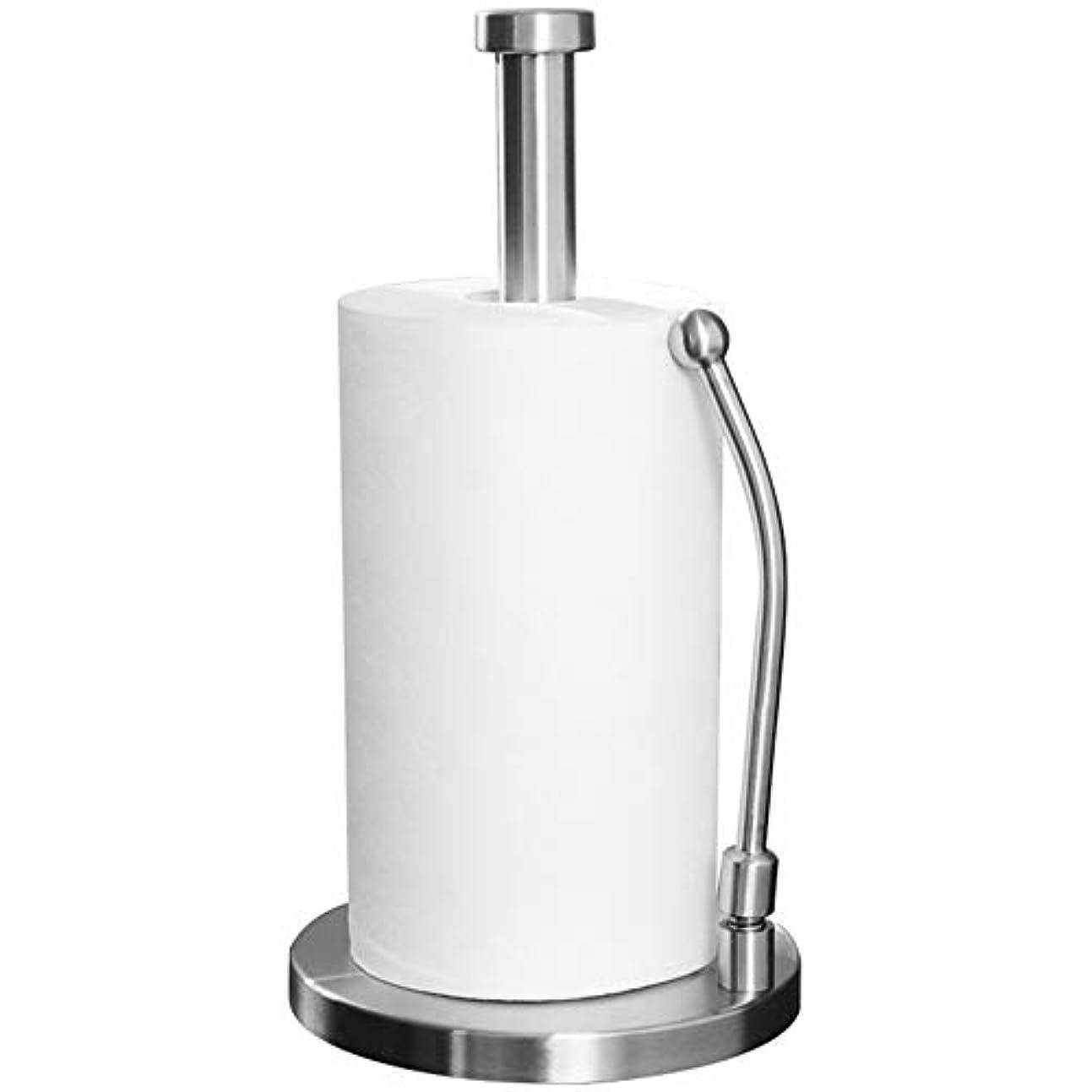 に変わるほのめかす部分的ZZLX 紙タオルホルダー、ステンレス鋼プラスボールドダブルポールキッチン垂直ロールホルダー紙タオルホルダー ロングハンドル風呂ブラシ