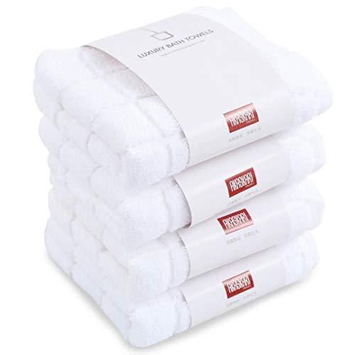 AKASKARI2019新品フェイスタオル 3色選ぶ ホテルタオル 瞬間吸水 抗菌防臭4枚セット 綿100% 34x75cm (ホワイト)