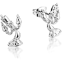 Disney by Couture Kingdom Women's Disney Beauty & The Beast Lumiere Studs,White Gold, 0.5x0.5x0.5