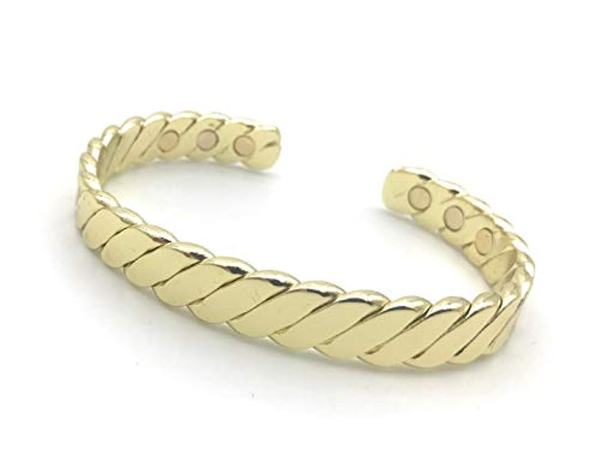 線形珍味考えるCretoni ゴールドカラー真鍮磁気ブレスレット 男女兼用 : 6つの強力な磁石 : ファッション、ゴルフ、自然な関節痛、関節炎、RSI、手根管、疲労、偏頭痛の緩和に最適 Flexible ゴールド