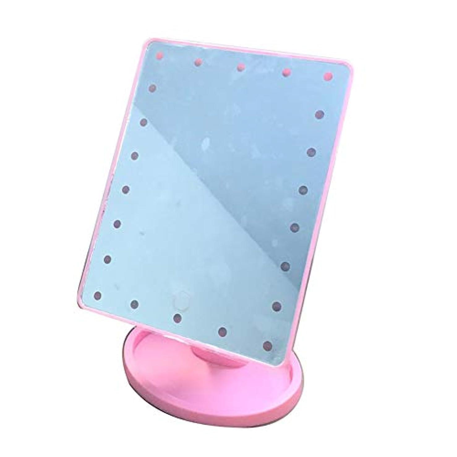 利点くそー無心Plutoury 化粧鏡 鏡 卓上 LEDライト22灯 女優ミラー 化粧鏡 LEDライト付き 明るさ調節可 180°回転 電池交換可能(PK1-16)