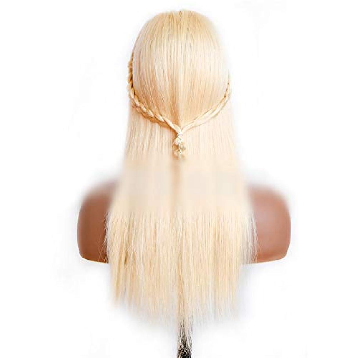欠席ディスコから聞くJULYTER 女王蜂蜜ブロンドの髪絹のようなストレートブラジルの人間の髪の毛のレースフロントかつら女性の毎日のドレス。 (色 : Blonde, サイズ : 24 inch)