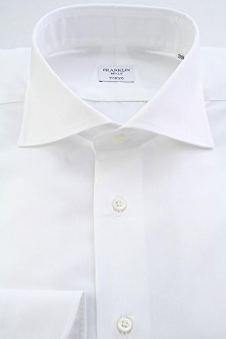 セッションオフェンス本会議(フランクリンミルズ) FRANKLIN MILLS 日本製 綿100% ドレスシャツ ワイドスプレッドカラー 白無地 ブロード100双 Italian Slim wd4265