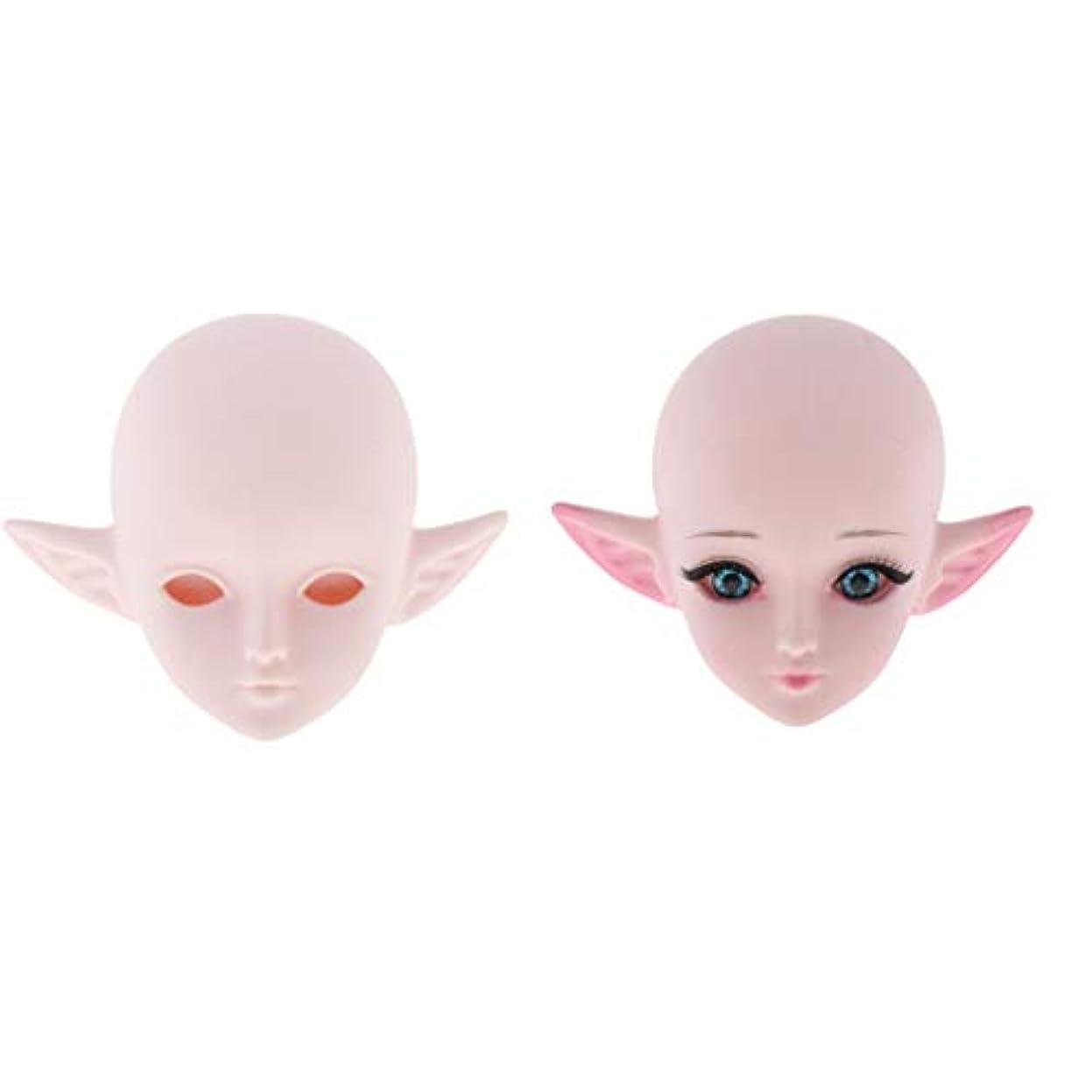 溶岩仮定、想定。推測に対処するSM SunniMix ドールヘッド 1/3スケール ドール頭 エルフ耳付き 女性フェイス 交換用 60cmBJD用 2個セット