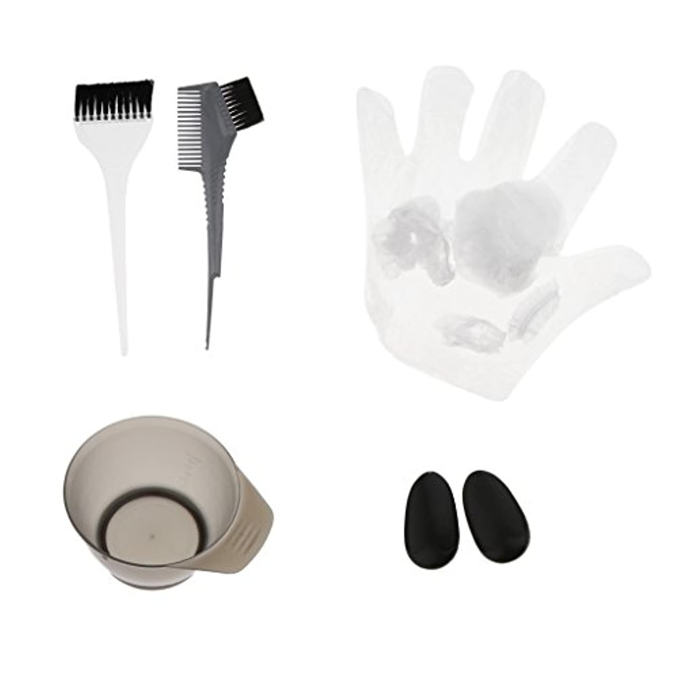 患者遠足心理的ヘアカラーセット ティントキャップ ケープ ボウル ブラシ 櫛 耳カバー グローブ ヘアサロン 美容師