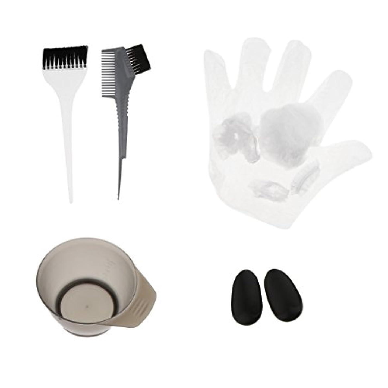 ホット頑張る落胆させるヘアカラーセット ティントキャップ ケープ ボウル ブラシ 櫛 耳カバー グローブ ヘアサロン 美容師