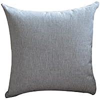 WENJUN シンプルな細かい綿のリネンの昼寝ソファー夏の昼食ブレーク厚い布のリネンコア枕と両面刺繍クッション ( 色 : グレー , サイズ さいず : 40X40cm )