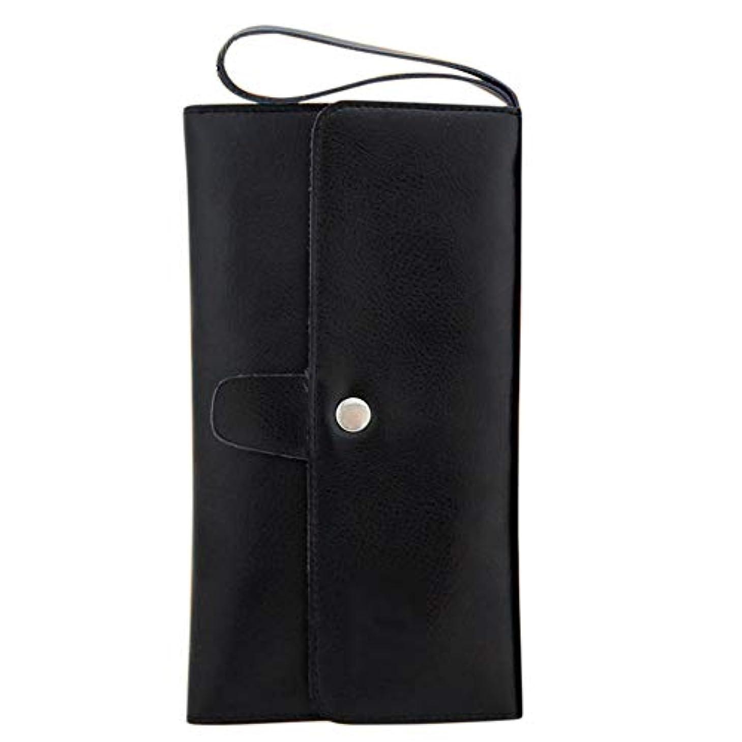 魅惑的なカート啓示ペットツールバッグレザーヘアはさみポーチバーバーくし収納袋 モデリングツール (色 : 黒)