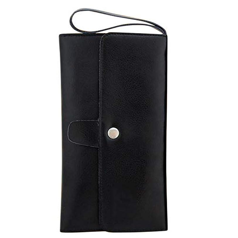 下線ただであるペットツールバッグレザーヘアはさみポーチバーバーくし収納袋 モデリングツール (色 : 黒)