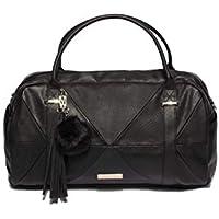 Black Textured Indie Weekender Bag With Gold Hardware