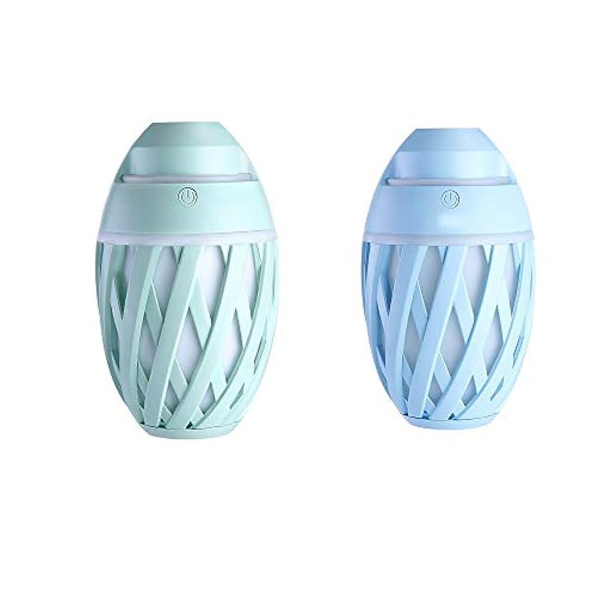 スリットクモバンドルZXF ミニUSB車の空気加湿器の美しさの楽器オリーブ形マイナスイオンカラフルな変更美しさの水道メーターABS材料2つの青いモデル緑 滑らかである (色 : Blue)