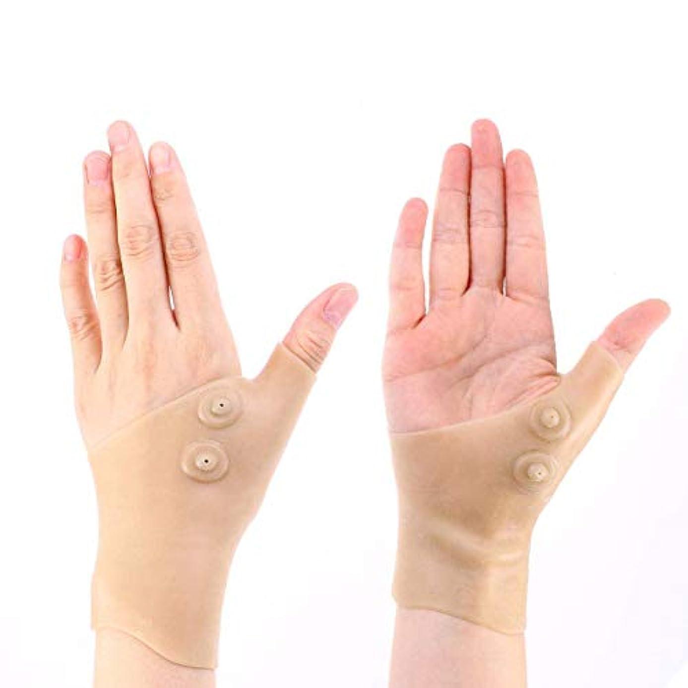手首サポーター 磁気手袋 磁気療法手袋 関節炎圧縮手袋 腱鞘炎 血行促進 疲れ軽減 衝撃緩和 シリコン フリーサイズ 左右両用 男女兼用 2枚セット FIRLAR
