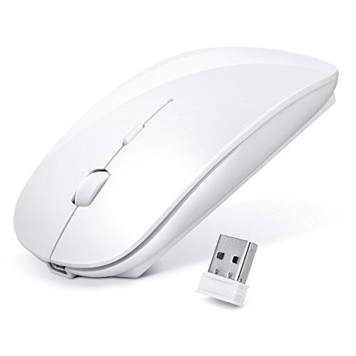 ワイヤレスマウス 超薄型 静音 無線 マウス Levens 充電式 省エネルギー 2.4GHz 3DPIモード高精度 コンパクト Mac/Windows/Surface/Microsoft Proに対応 (ホワイト)