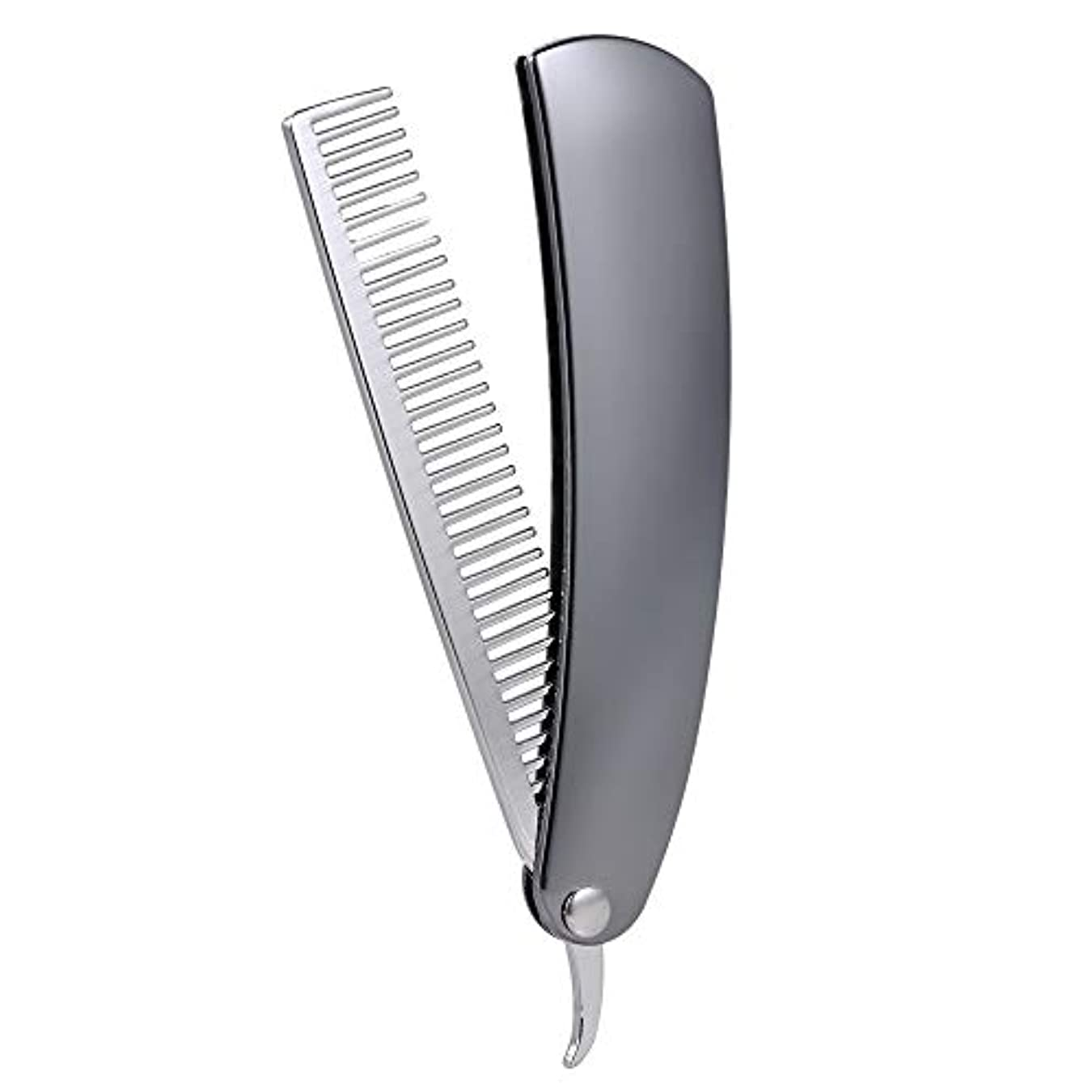 器用来て日曜日Foldable Male Beard hair Combs Stainless Steel Brush Mini Pocket Men's Shaving Comb Portable Mustache Styling...