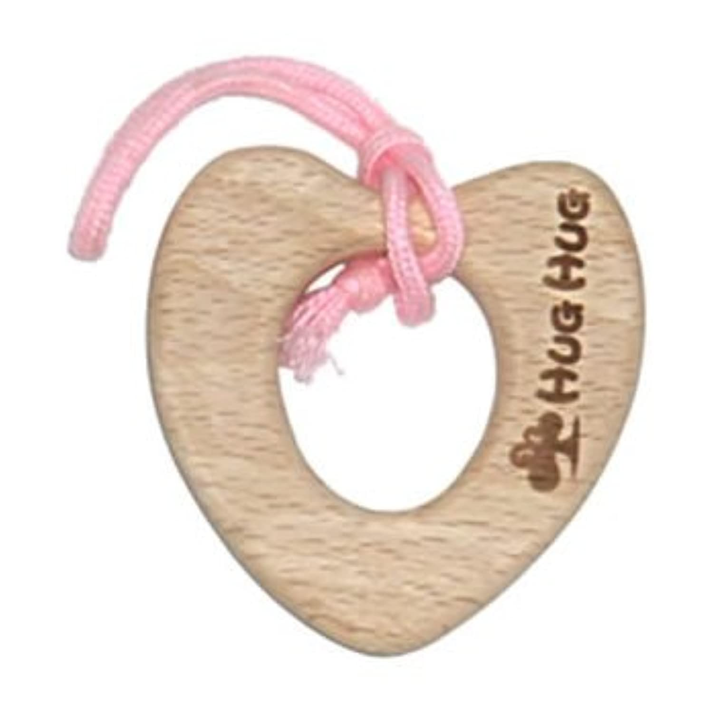 日本国内生産 ハートの歯固め(ひも:ピンク)《手づくり木のおもちゃHUG HUG(はぐはぐ)》