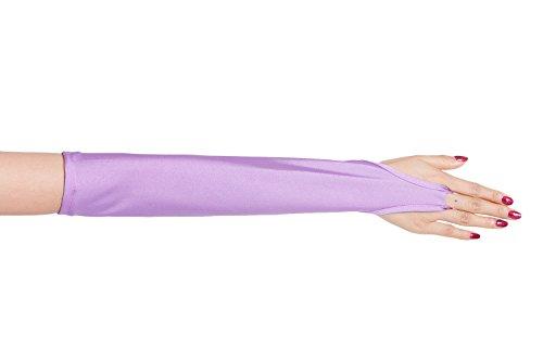 ツルツルニット 指ぬき ロンググローブ 超特大サイズ, 紫
