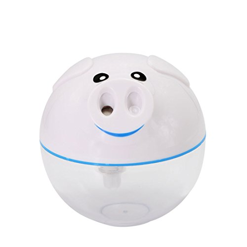 BOJIN 加湿器 USB給電 卓上加湿器 子豚形 可愛い LEDライト付き 自動停止機能搭載 乾燥、花粉症対策 ホワイト