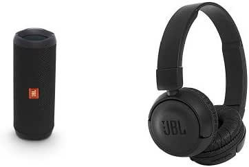 JBL FLIP4 Bluetoothスピーカー IPX7防水 ブラック +  T450BT Bluetoothヘッドホン 密閉型/折りたたみ ブラック [JBLFLIP4BLK + JBLT450BTBLK] 【国内正規品】