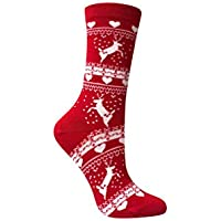 Love Sock Company Reindeer Christmas Socks - Organic Cotton Red Women's Crew Socks - Christmas Gifts - Made in Europe