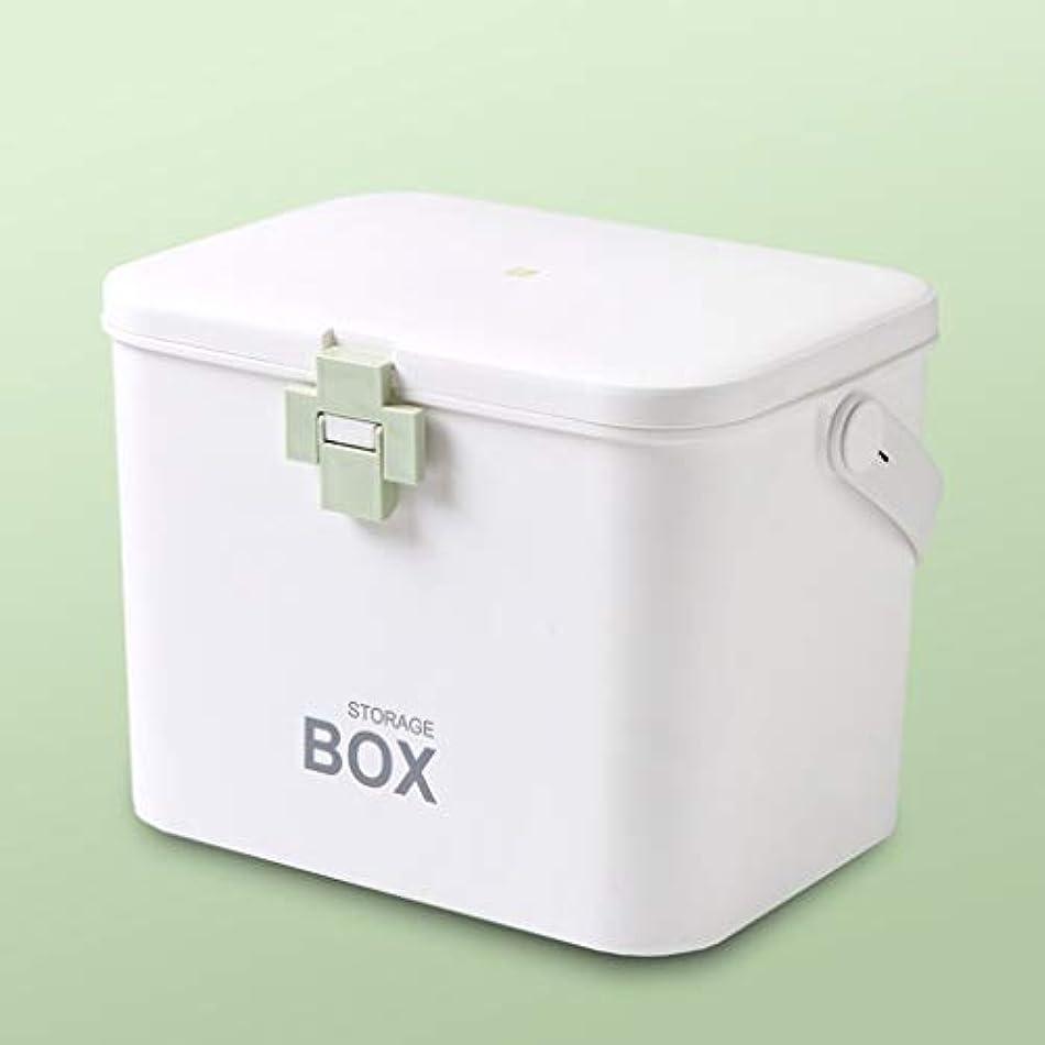 医学の箱の世帯の二重層の大容量の薬剤の貯蔵およびロックのバックルが付いている収納箱青、緑、ピンク、紫色 SYFO (Color : Green)