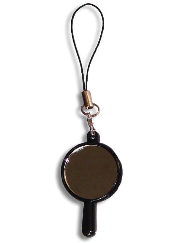 持参とげ堀化粧直しに最適!小さい携帯ストラップ ■携帯ハンドミラー(ストラップ付) ブラック