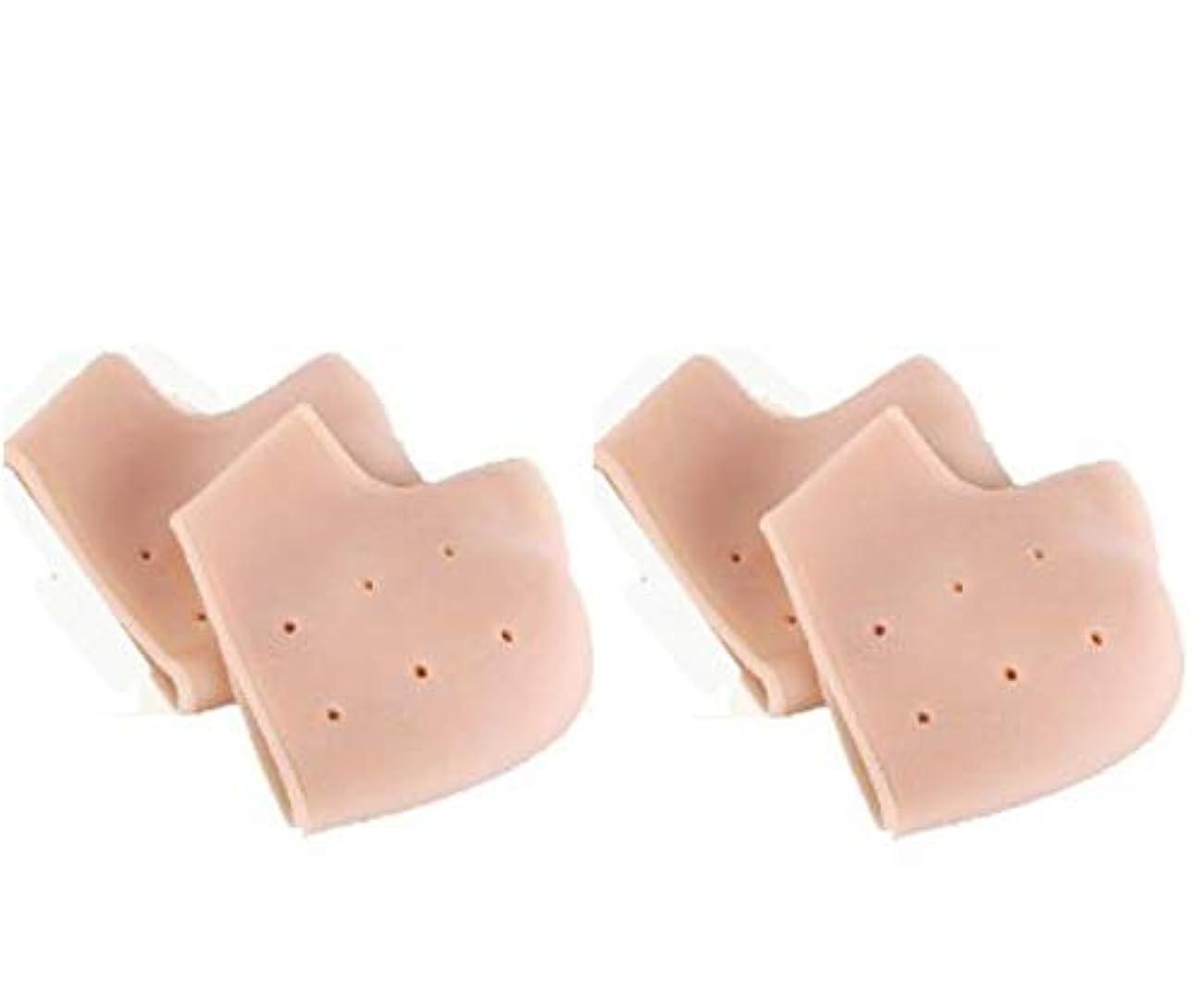 放送ブラウン中級かかと サポーター 保護 ヒビ割れ対策 保湿 靴下 ワセリン クッション シリコン インソール 4個 ケア