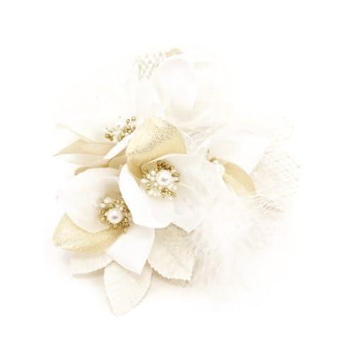 髪飾り 白 ホワイト ゴールド 百合 ユリ ファー レース パール [成人式/振袖/卒業式/袴/着物/和装]