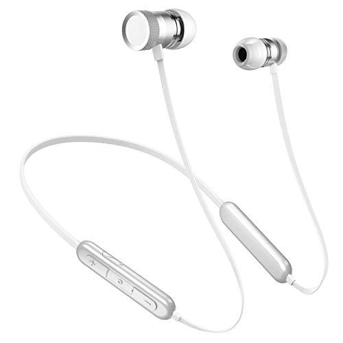 Bluetooth 5.0  20時間連続再生Bluetooth イヤホン PICUN ワイヤレス イヤホン マグネット搭載 IPX5防水 ランニング用 ブルートゥース イヤフォン マイク内蔵 ハンズフリー通話 Siri対応 iPhone/ipad/Android適用 (シルバー)