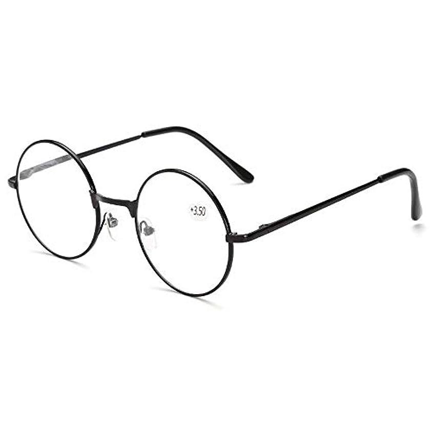 YUANSHOP1 おしゃれ 老眼鏡 レトロ丸型メガネ 携帯用リーディンググラス 超軽量 合金フレーム ユニセックス (+3.5)