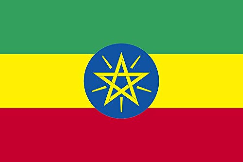 世界の国旗 エチオピア 国旗 ポータブルフラッグ [ 25×37.5cm ポール付き手旗 高級テトロン製 ]
