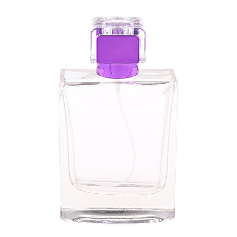 件名結晶乱すノーブランド品  100ml  矩形 香水瓶 スプレーボトル アトマイザー 詰め替え 旅行携帯便利  - 紫