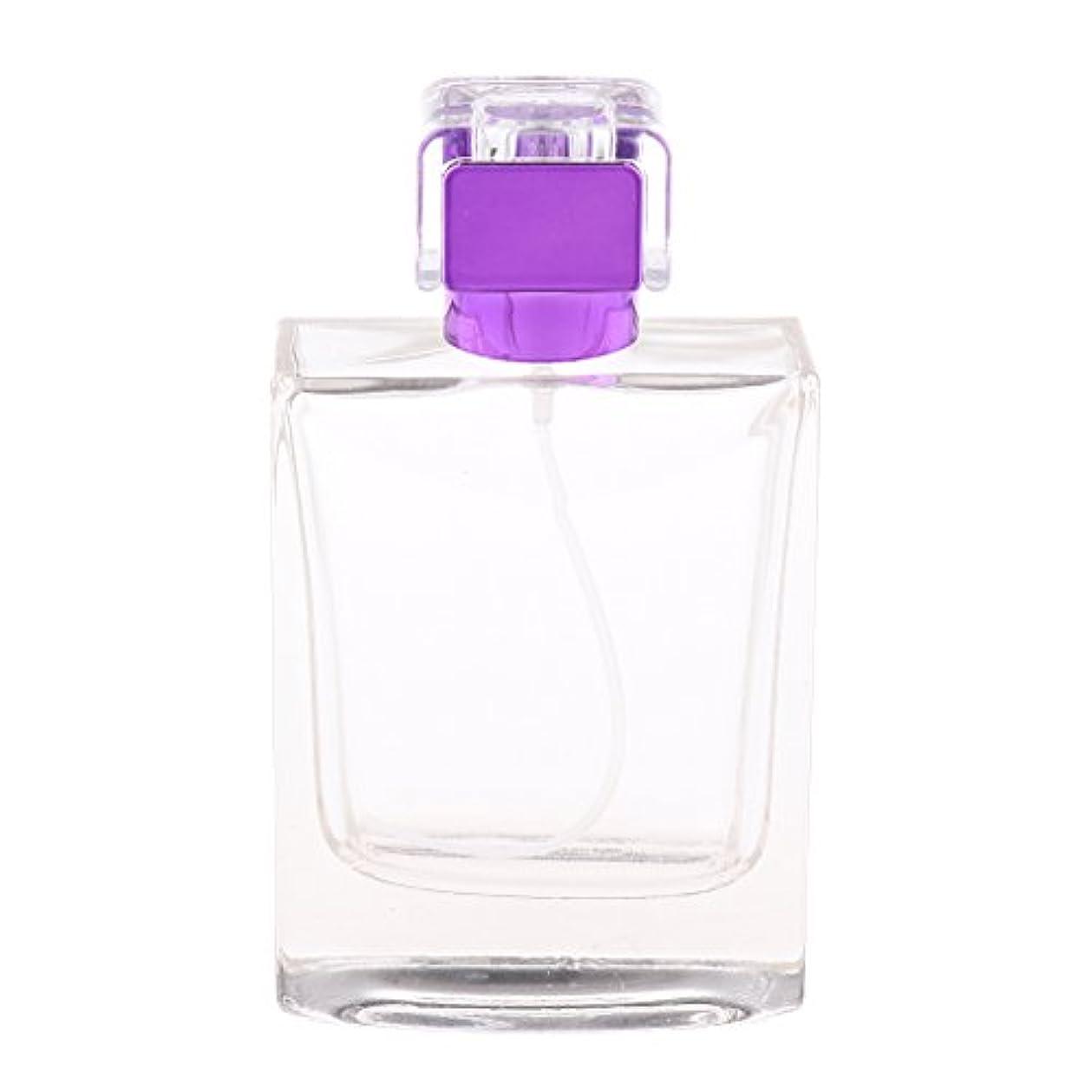 隣人シンボル堤防ノーブランド品  100ml  矩形 香水瓶 スプレーボトル アトマイザー 詰め替え 旅行携帯便利  - 紫