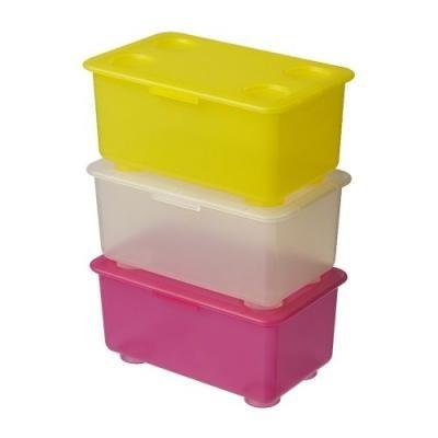 ★グリース / GLIS ふた付きボックス 3ピース/ ピンク・ホワイト・イエロー[イケア]IKEA(00135570)
