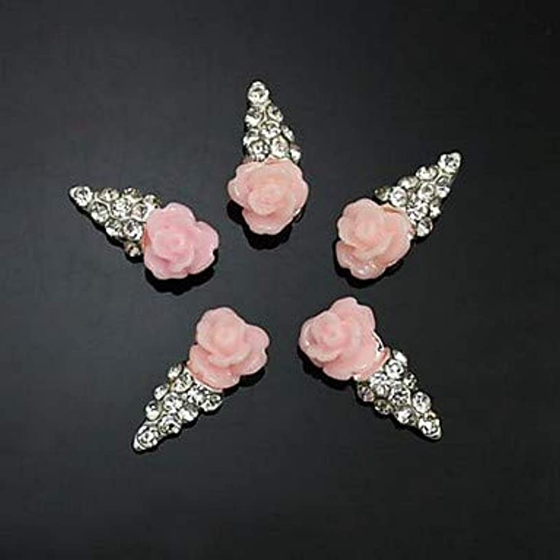 不健康腫瘍ペチュランス10ピースピンクの花の形のアイスクリーム3dラインストーンdiyアクセサリーネイルアートデコレーション