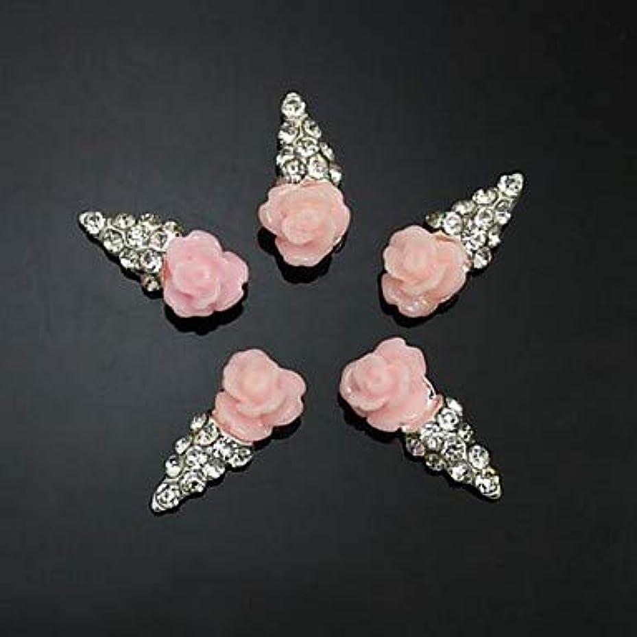 黒人定義する独立して10ピースピンクの花の形のアイスクリーム3dラインストーンdiyアクセサリーネイルアートデコレーション