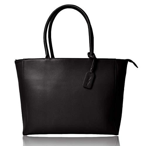 [Dom Teporna] トートバッグ メンズ チャック 無地 かばん 鞄 大容量 ビジネス バッグ 持ち手 レザー 軽量 収納 シンプル ショルダー ファスナー ブラック