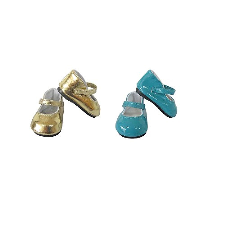 18インチ人形靴セット、2ペアのPUレザーシューズin Golden andブルー, Fits 18 Inch American Girl人形