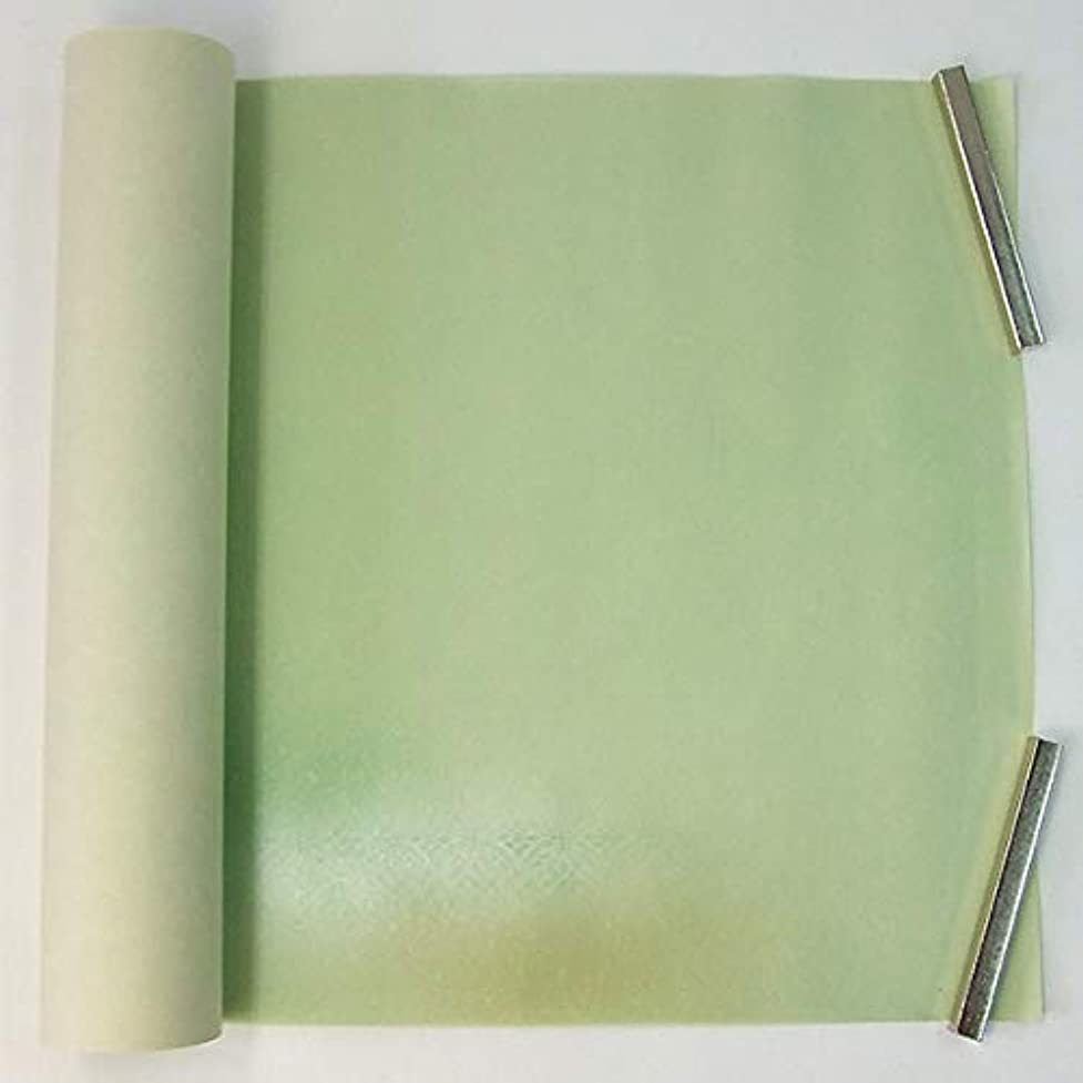 タイピストディプロマ研磨剤半切 楮紙 色引銀泥型打 二色かすみ風ボカシ 若草 10枚 仮名用 加工紙