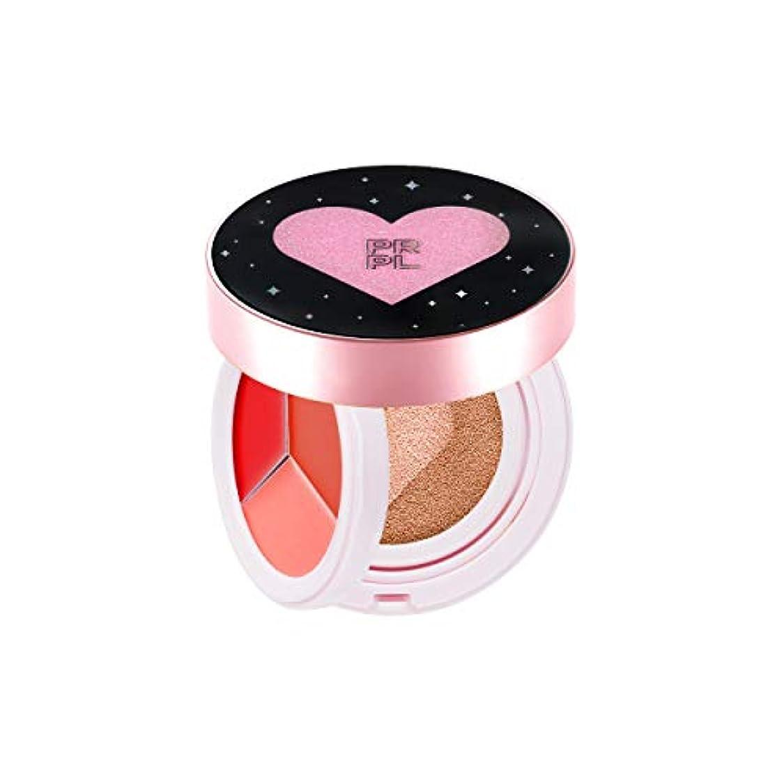 に対応するセブン頂点PRPL Kiss and Heart Double Cushion (Black Edition) #23 Pure Beige - Korean Make-up, Cushion Foundation, Korean...