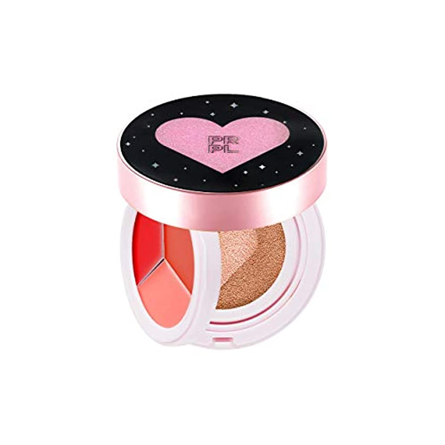 ロゴサスペンションペナルティPRPL Kiss and Heart Double Cushion (Black Edition) #23 Pure Beige - Korean Make-up, Cushion Foundation, Korean...
