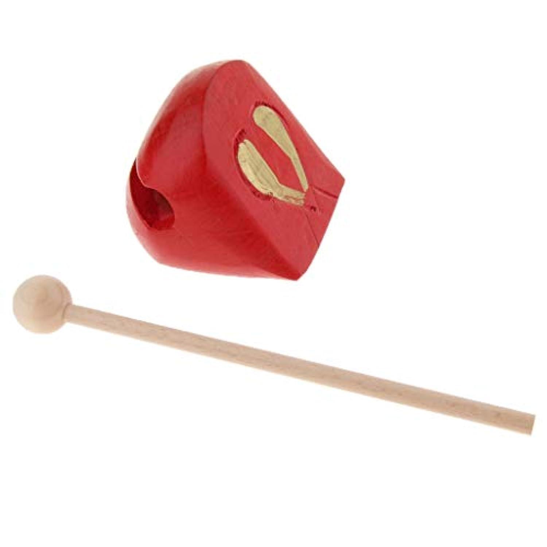 B Baosity 木製 木魚 ハンドパーカッション ハンマー ビート キッズ 楽器玩具