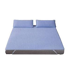 敷きパッド セミダブル 接触冷感 ひんやり ベッドパッド 気持ちいい肌触り ゴム付き ズレ防止 洗える 汗吸収 湿気こもらず 防臭 防ダニ (120×200cm, ブルー)