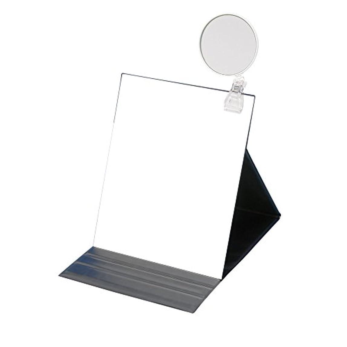 放映シェアくさびナピュアミラー 3倍拡大鏡付きプロモデル折立ナピュアミラー3L ブラック HP-53×3