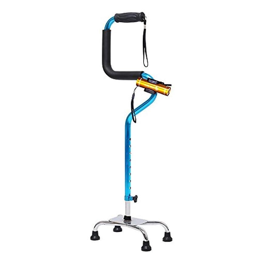 手首ボックス謎めいた高齢者ウォーキングスティックウォーカーイルミネーション医療引き込み式ノンスリップ松葉杖,Blue-Withlight