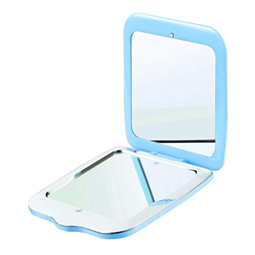 火炎誤解を招く群衆LED化粧鏡 化粧ミラー 手鏡 折り畳み式 2倍拡大鏡 青 外出用