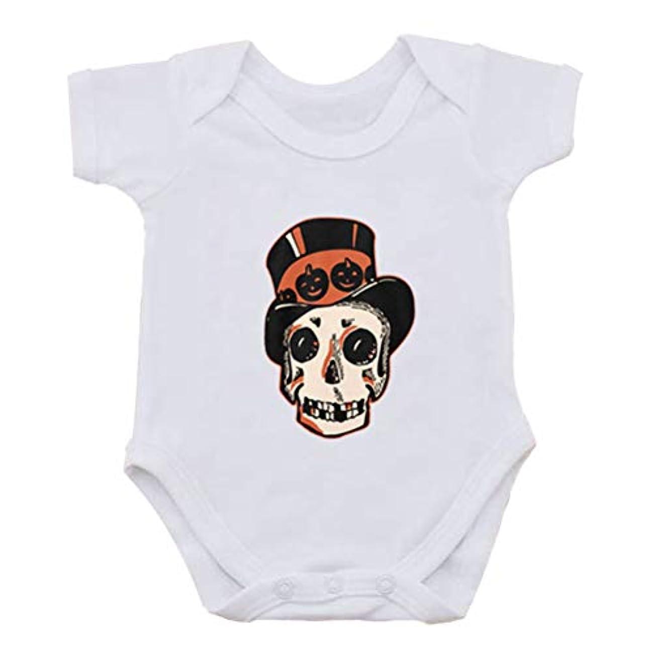 クリーナードリンク予感ベビー服 ハロウィン どくろ頭 プリント 赤ちゃん 半袖 ロンパス カバーオール 乳幼児服 肌着 パジャマ
