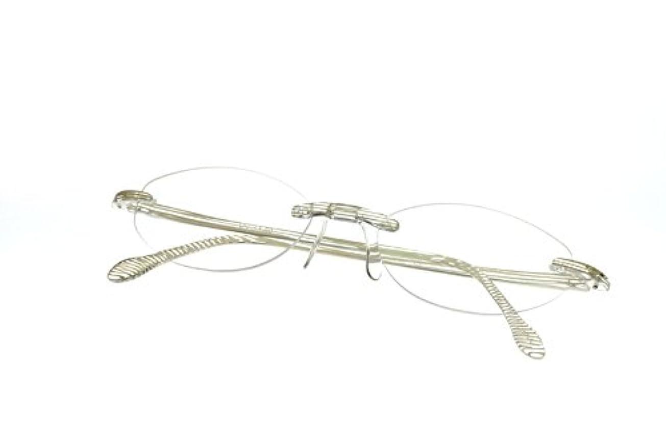 【軽量老眼鏡】エアリーダーソレイユ 紫外線99%以上カット アイマジン (度数+3.00, ホワイトストライプ)