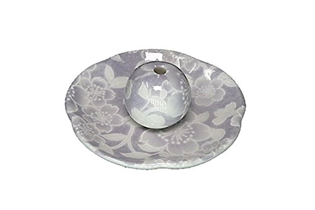 暗唱する半円駐地桜友禅 紫 花形香皿 お香立て 日本製 製造 直売品