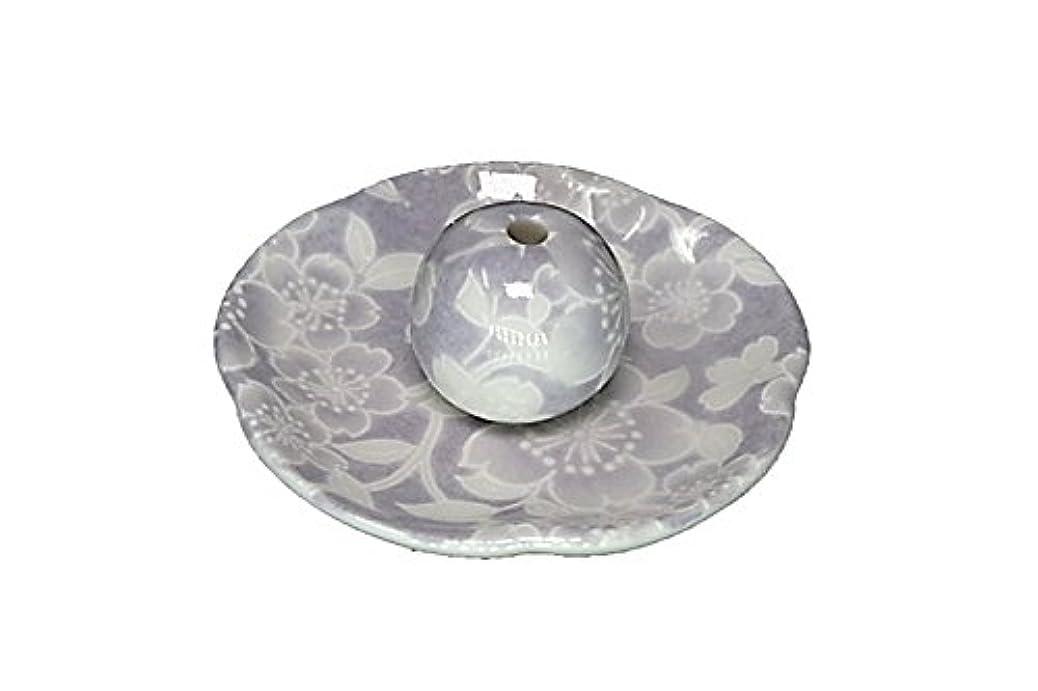 呼び起こす開始ホステス桜友禅 紫 花形香皿 お香立て 日本製 製造 直売品