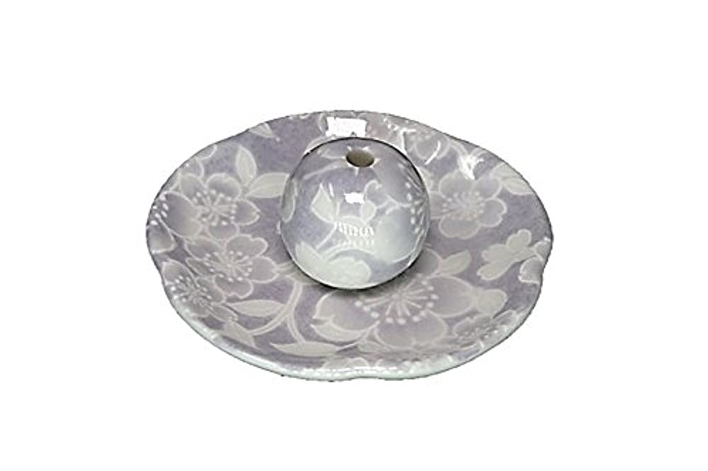 貪欲道を作る王位桜友禅 紫 花形香皿 お香立て 日本製 製造 直売品